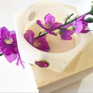 Vintage White Resin Bangle with Purple Stones